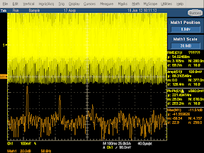 Low frequency oscilloscope trace from counterfeit UK iPhone charger