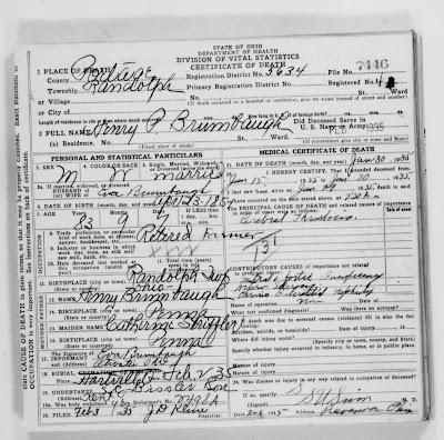 Henry P Brumbaugh Death Certificate