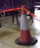 traffic bollard used to mark out a dog show ring