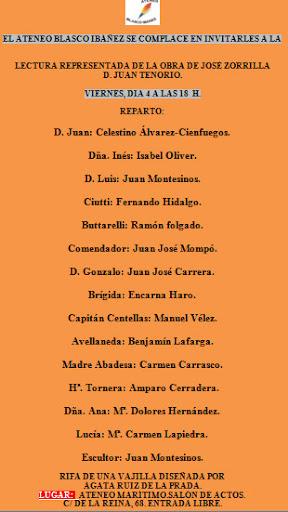 """Lectura representada de """"Don Juan Tenorio"""", Ateneo Blasco Ibáñez"""