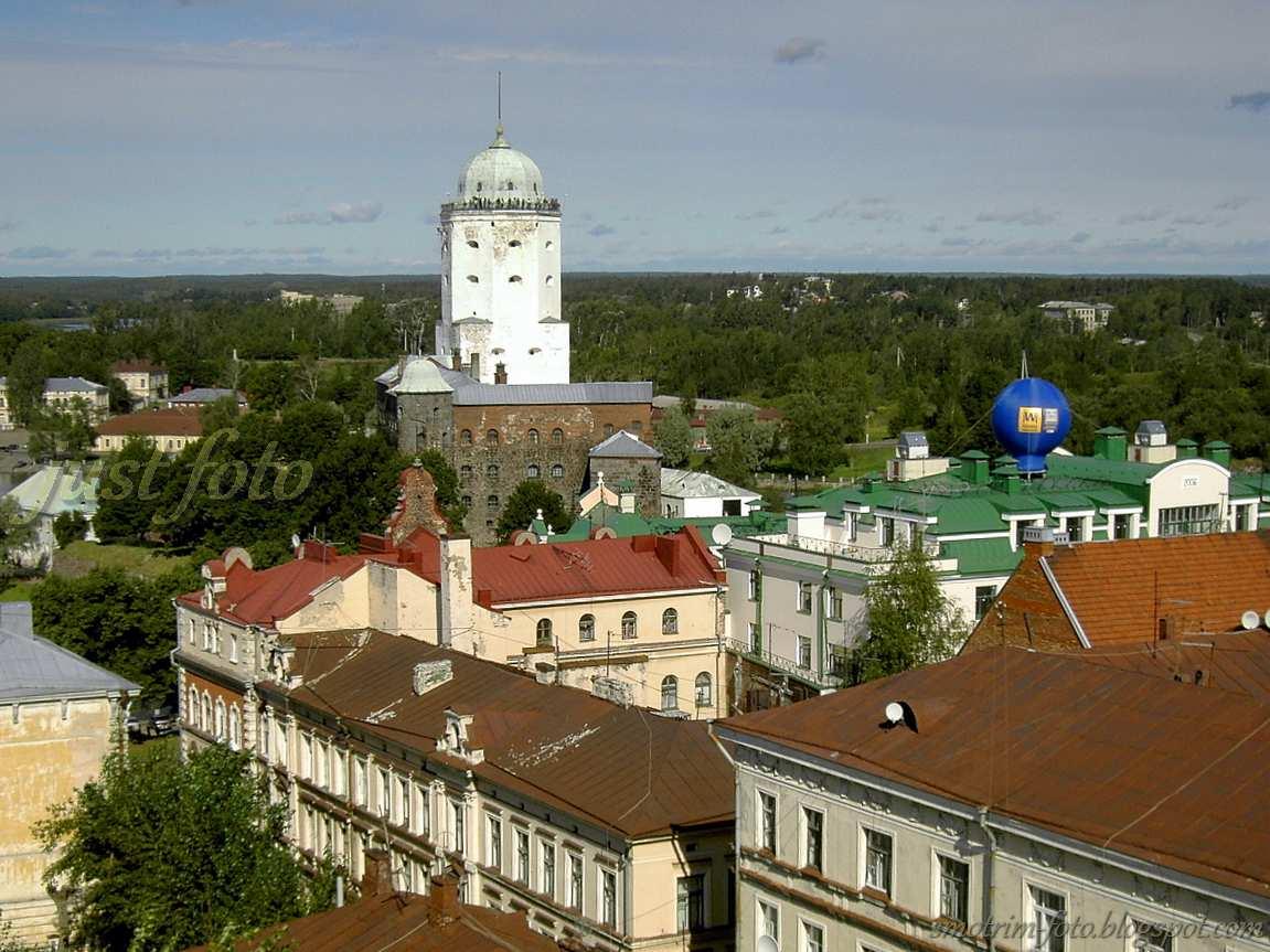 С башни Часовая видно Выборгский замок фото