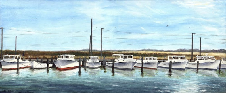A traditional-modern oil painting, Workboats, Kent Island, Maryland.