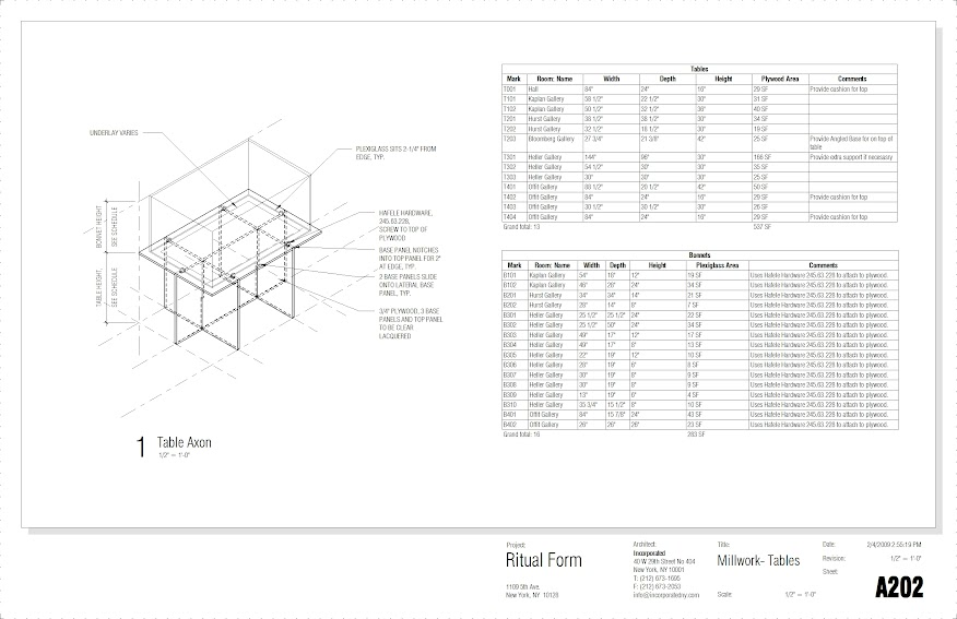 incorporated architecture design benroth rolston stuart Millwork - Drawing Sheet - A202 - Millwork- Tables.jpg