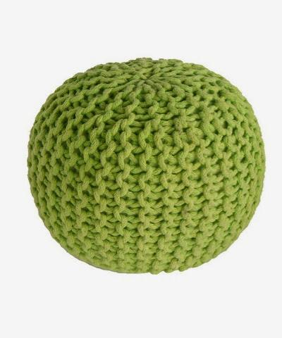Nattiot hand knitted green pouffe