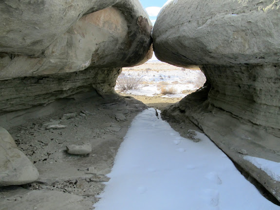 Tunnel-like passage between masses of sandstone