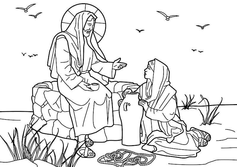 jesus with the samaritan woman at the well coloring pages