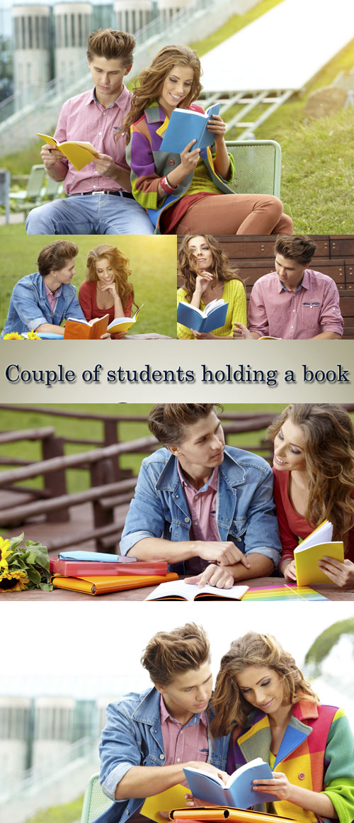 Stock Photo: Couple of students holding a book outdoors and smiling