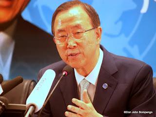 Ban Ki-moon, Secrétaire Général de l'Onu le 22/05/2013 à Kinshasa, lors d'une conférence de presse. Radio Okapi/Ph. John Bompengo