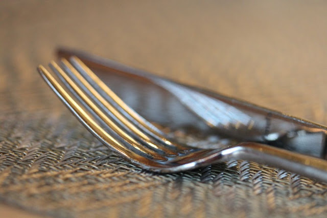 closeup of a fork and knife