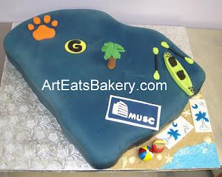 3D South Carolina state blue fondant custom designed Groom's cake with sugar Palmetto tree and beach items