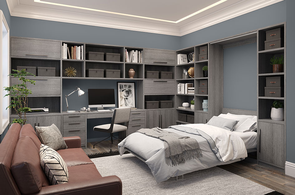 Custom Home Office with Cabinet Storage