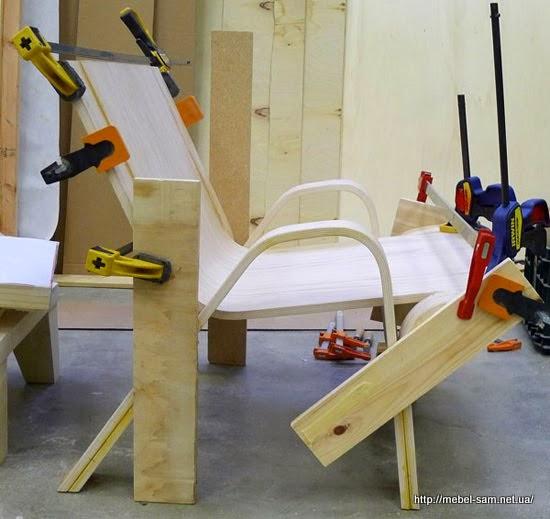 Сборка кресла из гнутоклееной фанеры