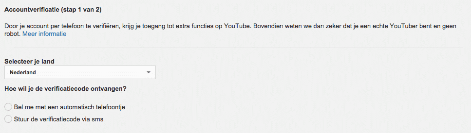 YouTube verfieer je account