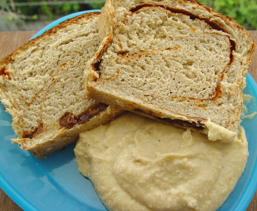 Mediterranean Sun Dried Tomato Bread with Hummus