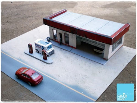 Abandoned Gas Station Papercraft
