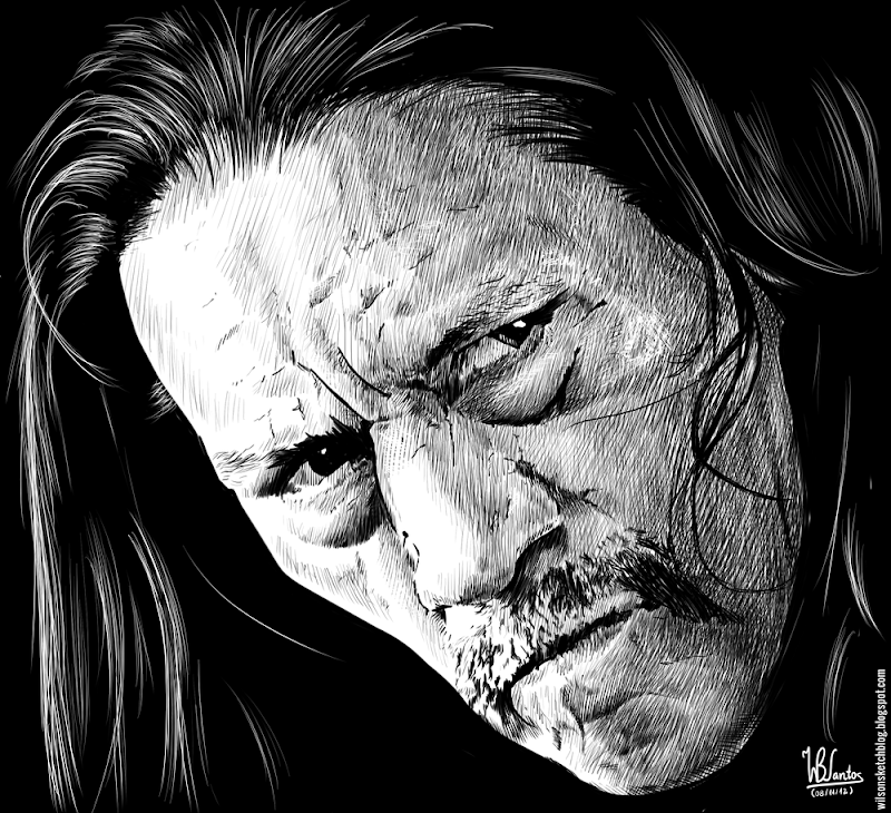 Ink drawing of Danny Trejo, using Krita 2.4.