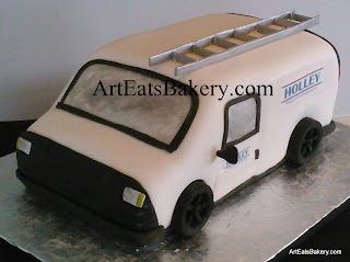 Work van 3D groom's cake with Holley Heating and Air Logos, edible ladder and chocolate tires