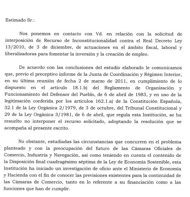 La Defensora del Pueblo no recurrira el Real Decreto