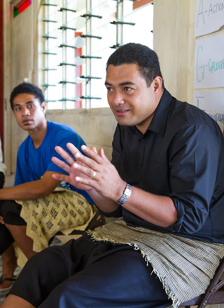 Tevita interacts during a Bible storytelling workshop he organised on the island of 'Eua.