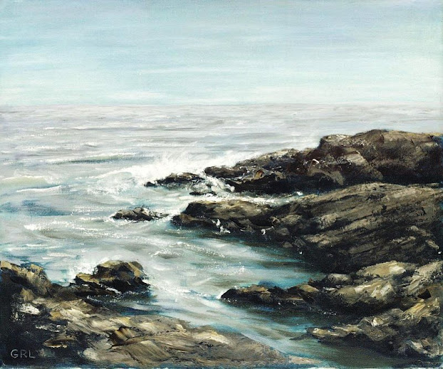 A traditional-modern oil painting, Bass Rocks, near Gloucester, Massachusetts.