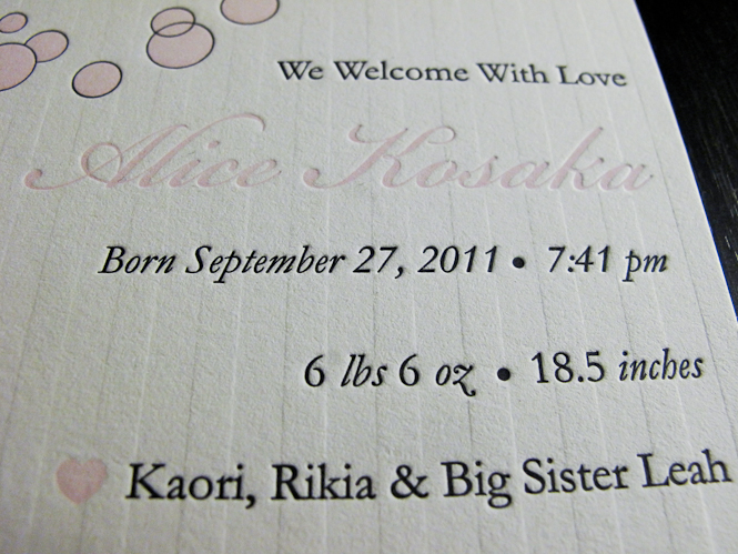 Alice Kosaka Letterpress Baby Announcement