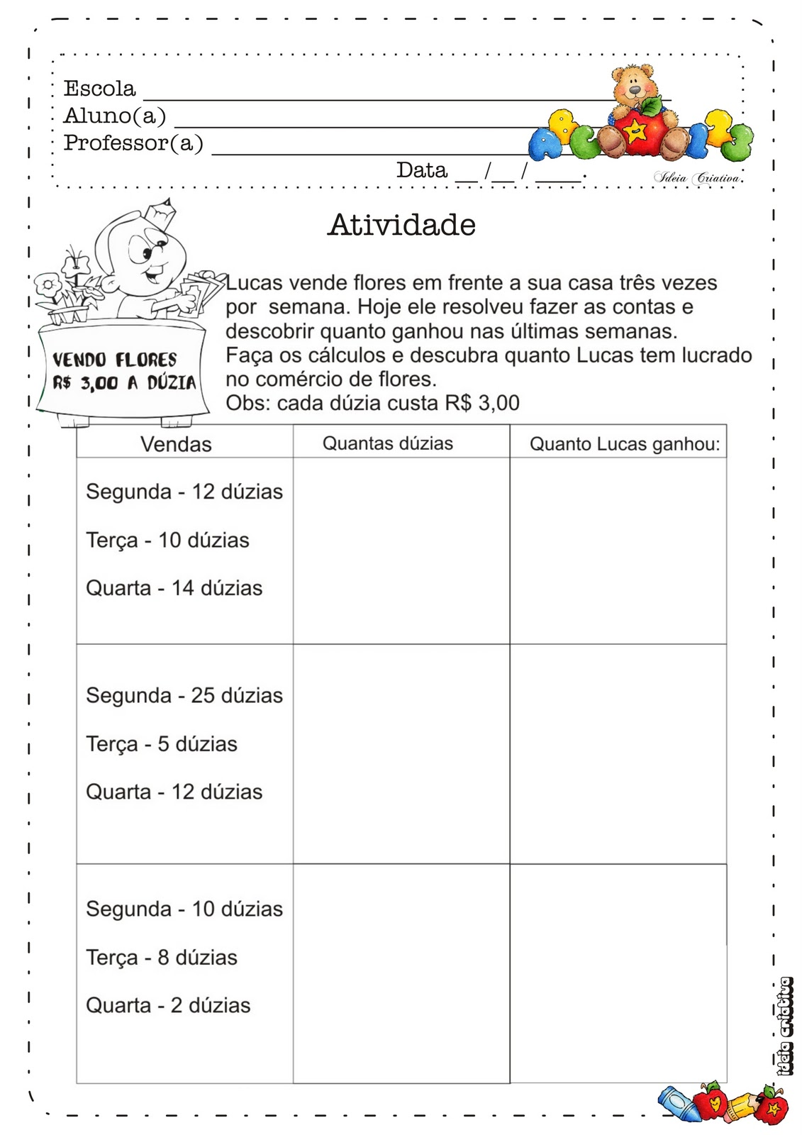 Parte Integrante Do Caderno Ursinho 3   Ano