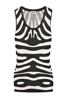 ALICE by Temperley Zebra Print Cotton-Blend Tank