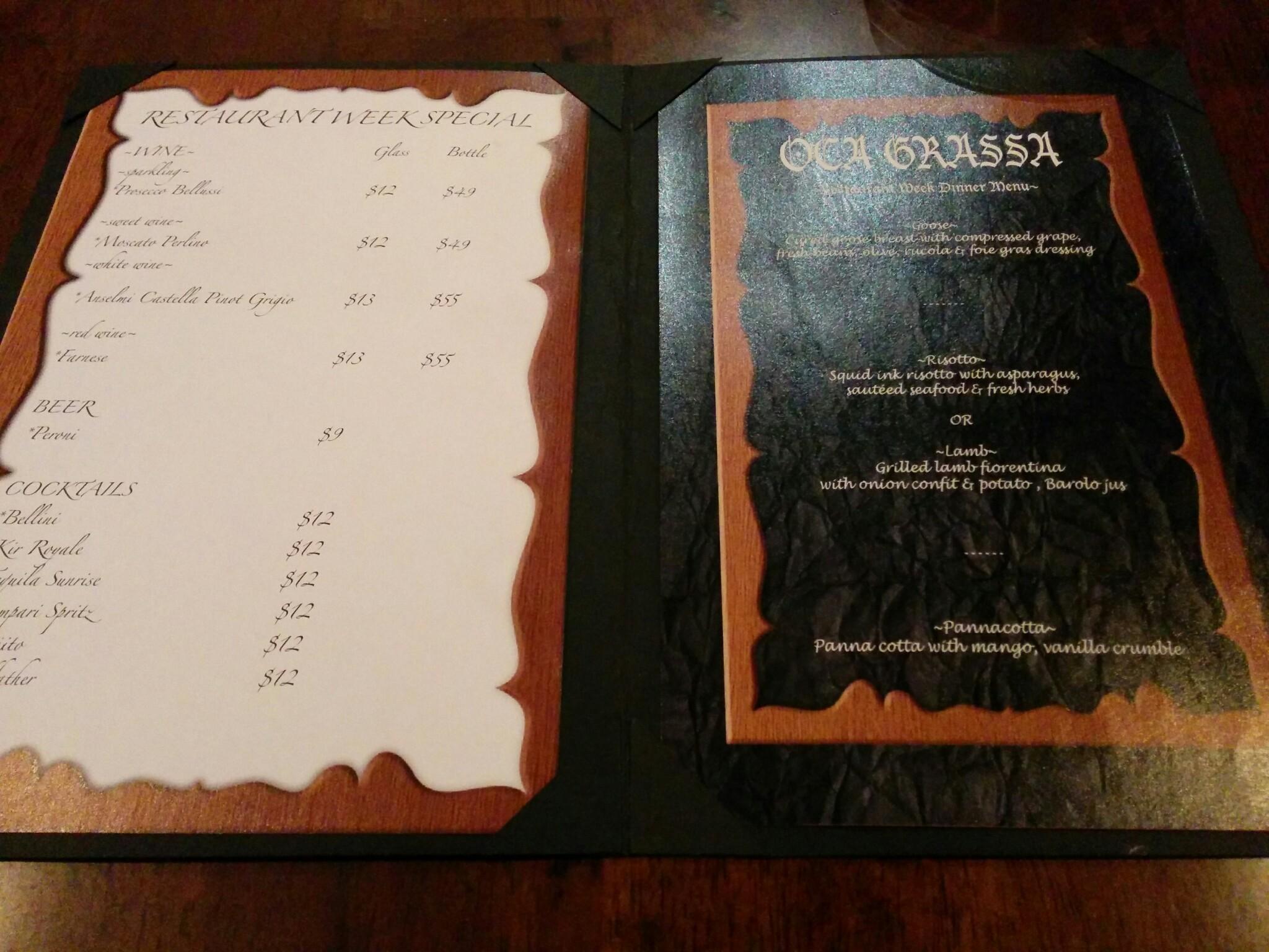Oca Grassa menu