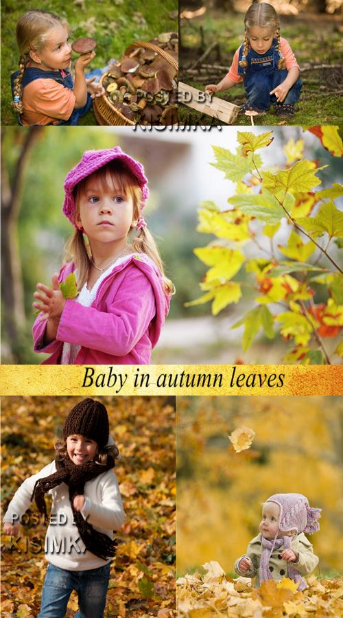 Stock Photo: Baby in autumn leaves