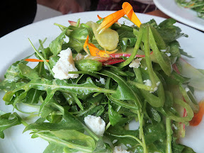 Accanto: salad arugula, snap peas, radish, basil vinaigrette and ricotta salata, and a few edible flower petals for touch of pretty