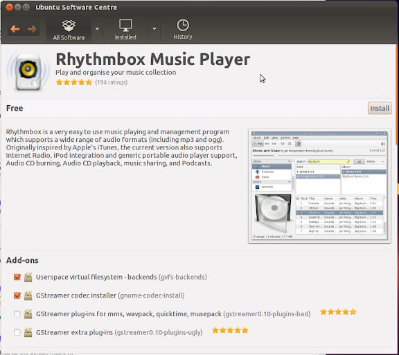 Install Rhythmbox in Ubuntu 11.10