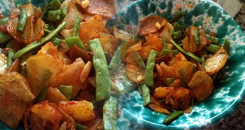 Recipe: Italian Style Fried Potatoes with Flat Romano Beans and Tomato Paste