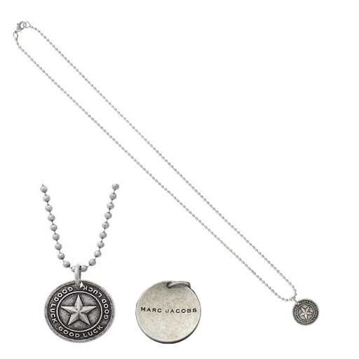 Marc by Marc Jacobs Coin Necklace Good Luck Star - Antique Silver