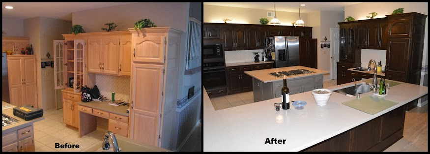 Kitchen cabinet refinish another before and after
