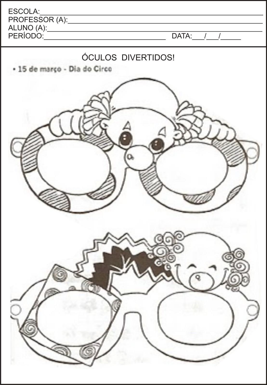 máscara do dia do circo para imprimir
