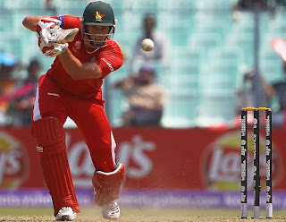 Craig Ervine plays to off-side during his blistering knock of 66, Kenya v Zimbabwe, Group A, World Cup 2011, Kolkata, March 20, 2011