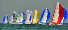 J/80 one-design sailboats- sailing around Block Island