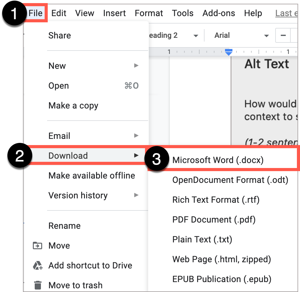 Google Docs File drop-down menu, showing the option to download as a Microsoft Word document.