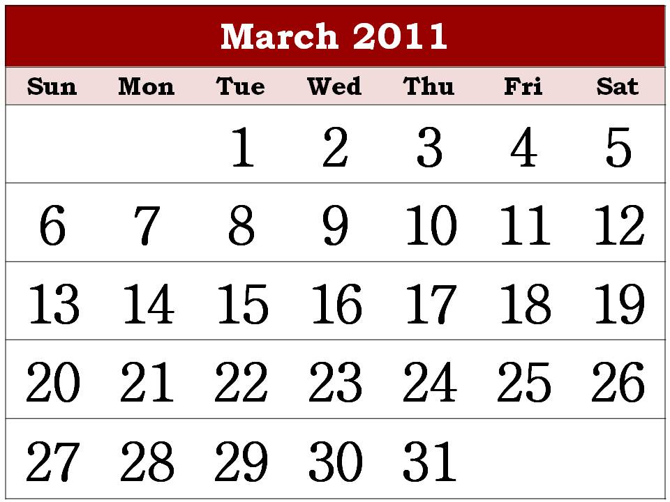 march calendar 2011. Free Printable Calendar 2011