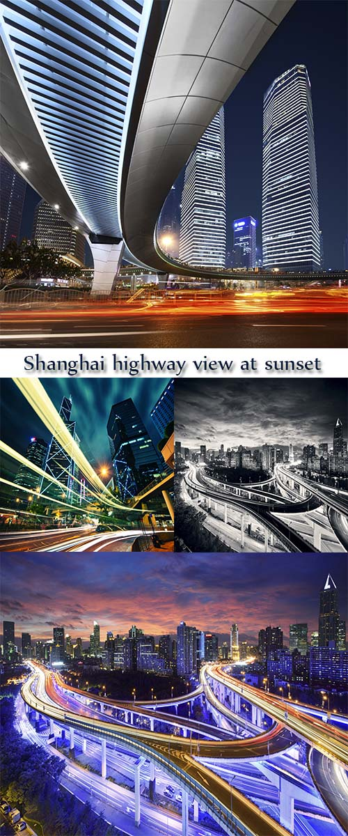 Stock Photo:  Shanghai highway view at sunset