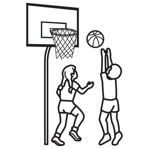 Niños jugando basquetbol para colorear - Imagui