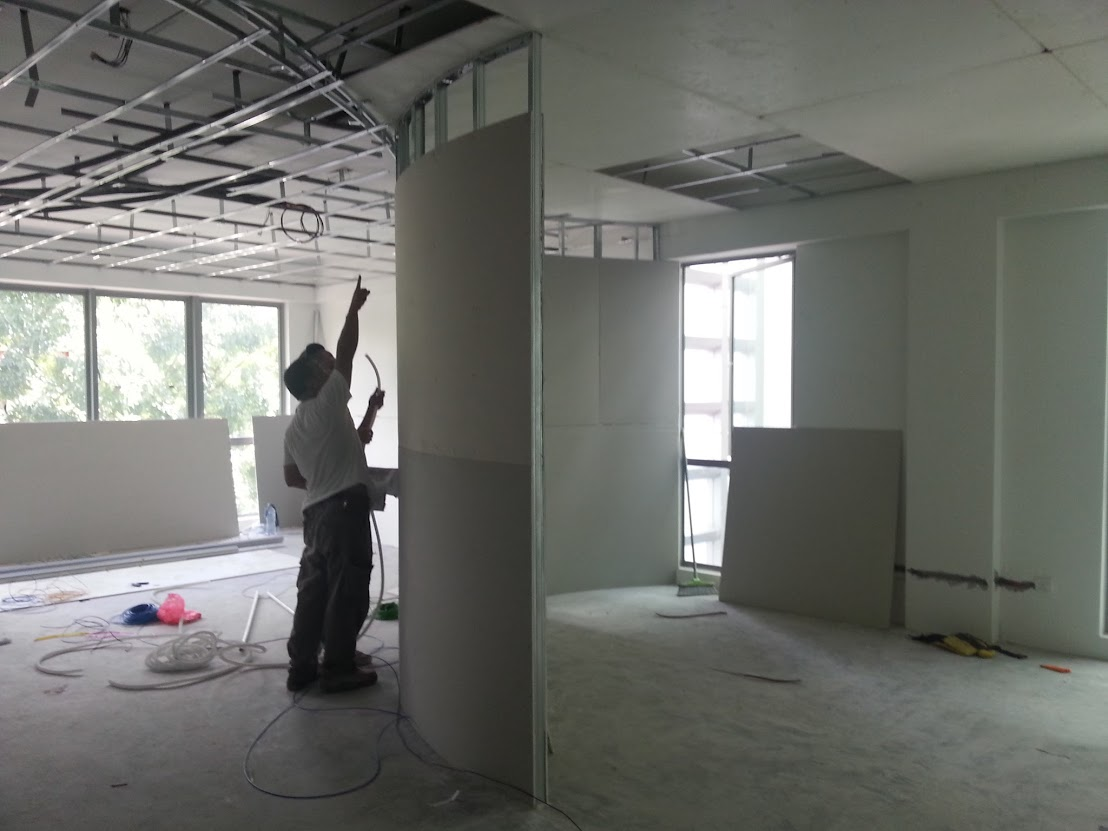 wiring concealed in partition