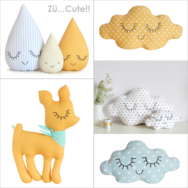 How Adorable Are These Pillows And Beautiful Would They Look Decorating A Baby S Room Clouds Raindrop Families Fawns Birds