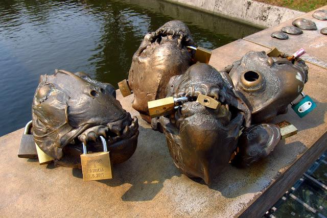 bridge fish sculptures