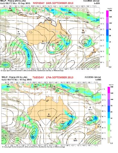 16th sept 2013 rain for south east Australia