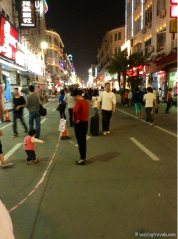 xiamen shopping street at night, china