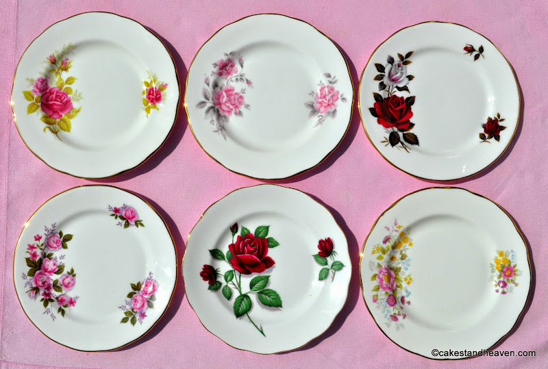 eclectic vintage bone china tea plates with roses