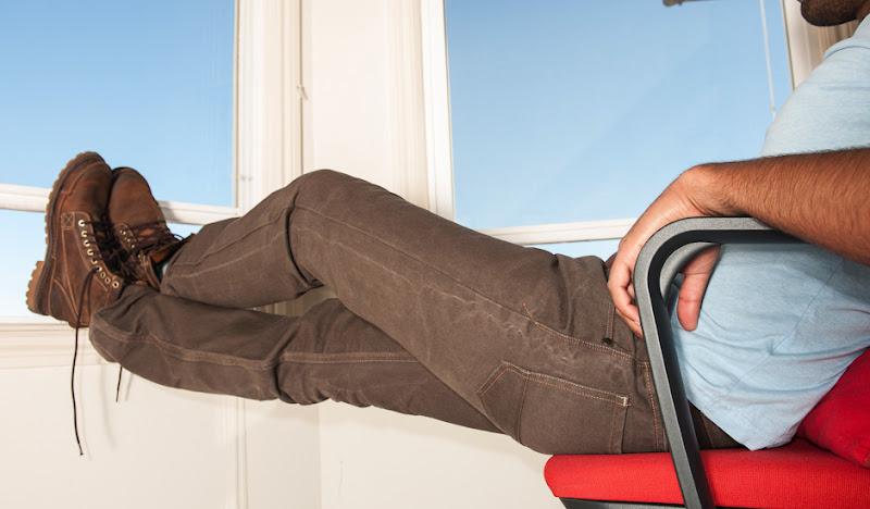 Brown Beatdown legs in red chair