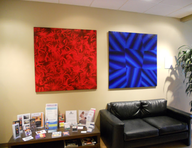 Victor Angelo Paintings Red Blue Office Lobby Interior Design