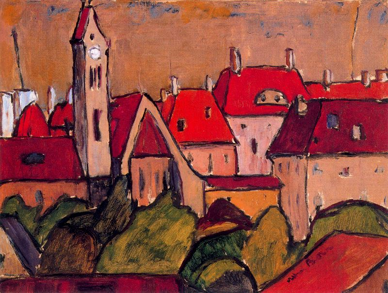 Albert Bloch - Cityscape with Tower